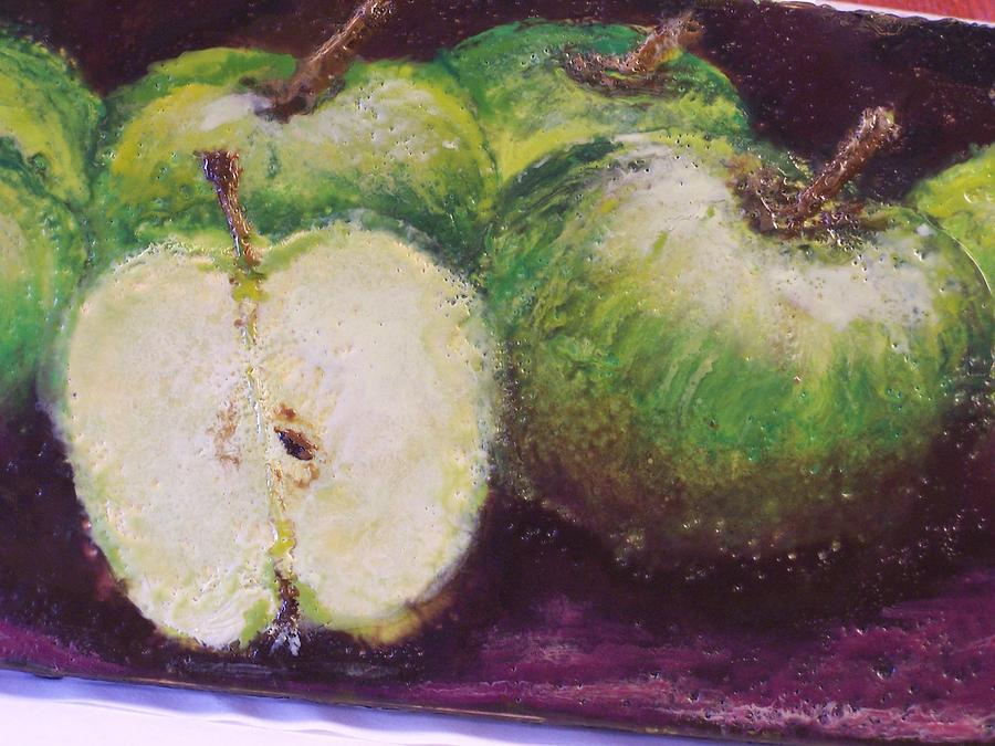 Still Life Painting - Gods Little Green Apples by Karla Phlypo-Price