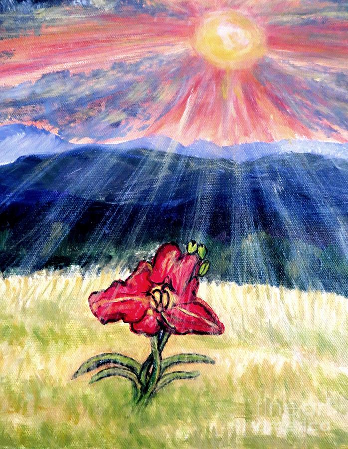 Gods Rays Shining On A Red Lily Flower In The Spring Painting by Kimberlee Baxter