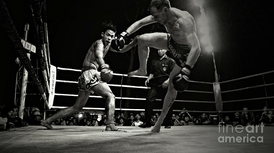 Kick Boxing Photograph - Going Down by Ian Gledhill