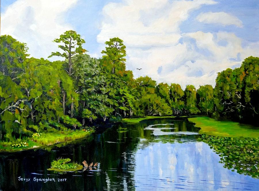 Florida Painting - Going Down The St Johns River by Jerry SPANGLER