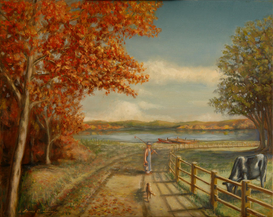 Boy Painting - Going Fishing by Lance Anderson