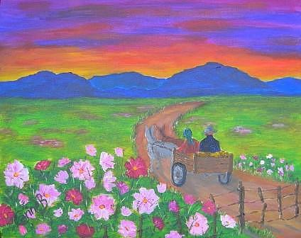 Going Home Painting by Carine Badenhorst-Fourie
