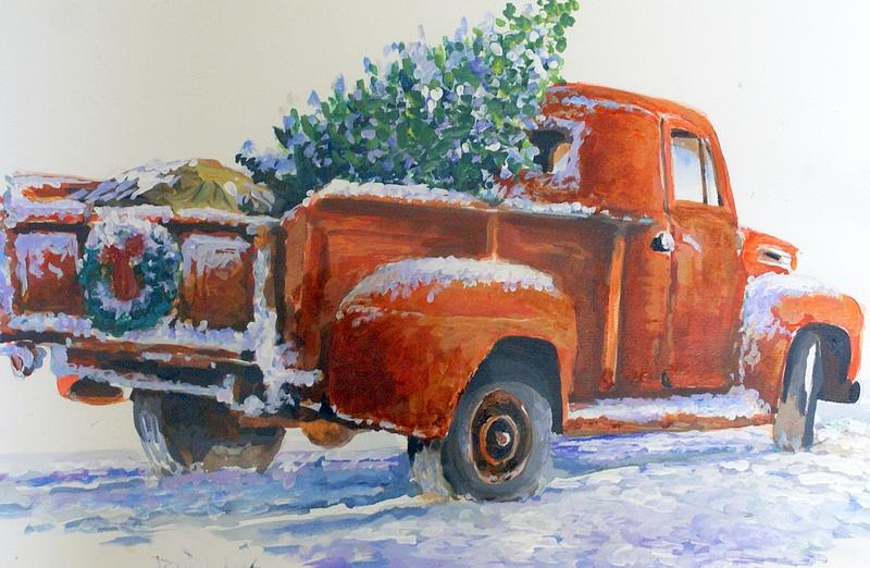 Old Truck Painting - Going Home Forchristmas by Bob  Adams
