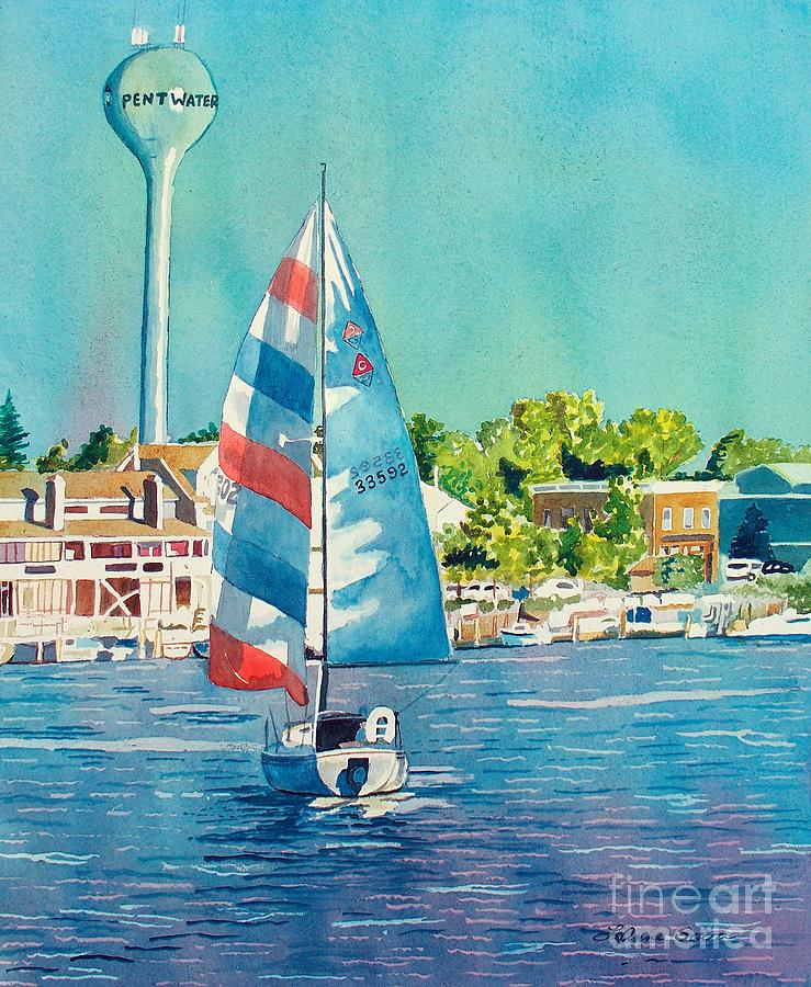 Sailboats Painting - Going Home by LeAnne Sowa