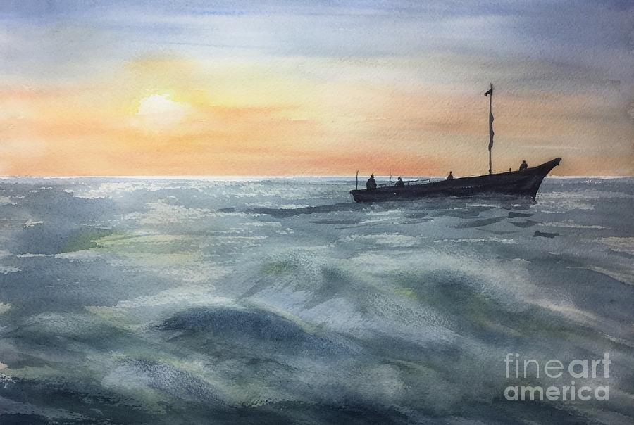 Ship Painting - Going Home by Watercolor Meditations