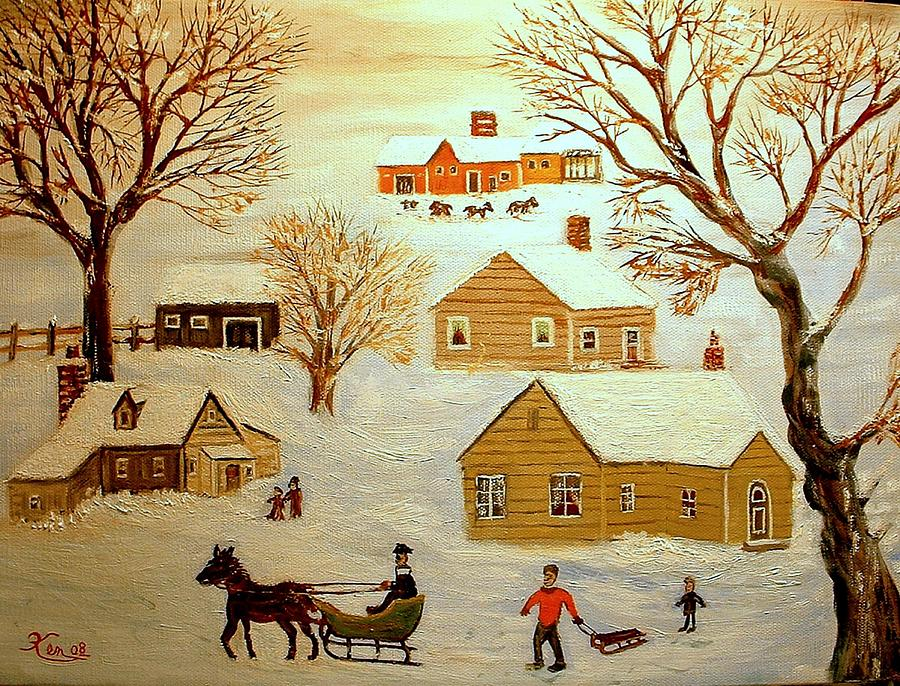Going Sledding Painting by Kenneth LePoidevin
