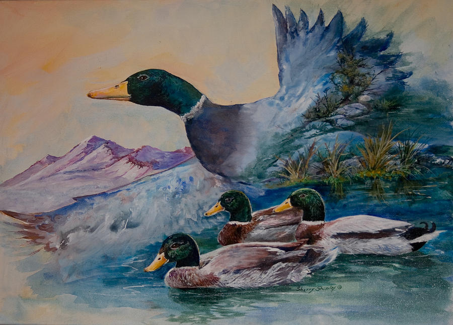 Duck Painting - Going South by Sherry Shipley