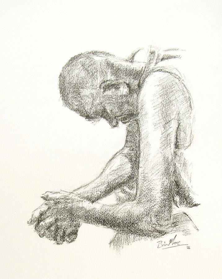 Portrait Drawing - Going Through It by Brian Moore