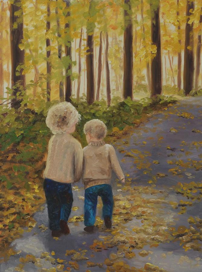 Landscape Painting - Going to Grandmas by Biki Chaplain