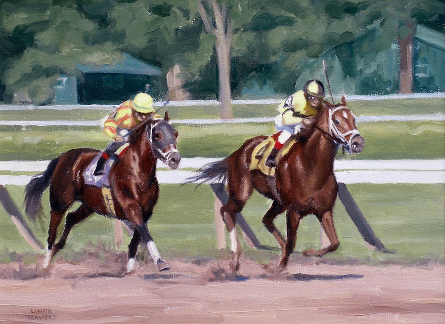 Horse Painting - Going To The Whip by Linda Tenukas