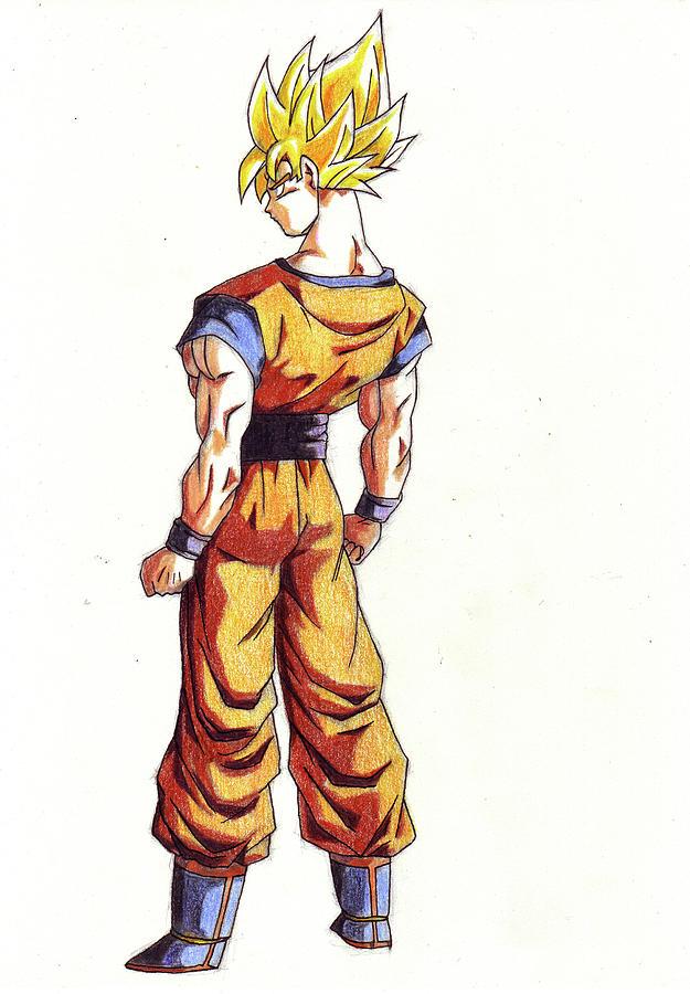 Goku Super Guerrier Drawing by Venance Motema
