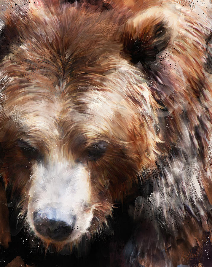 Bear Painting - Bear // Gold by Amy Hamilton