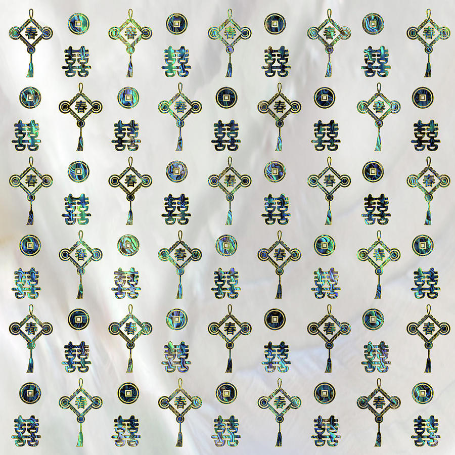 Gold And Abalone Shell Lucky Chinese Symbols Pattern Digital Art By