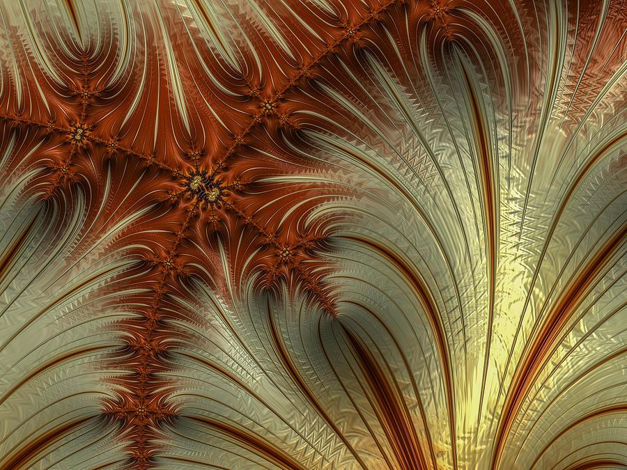 Gold and Burnt Orange Fractal by Constance Sanders