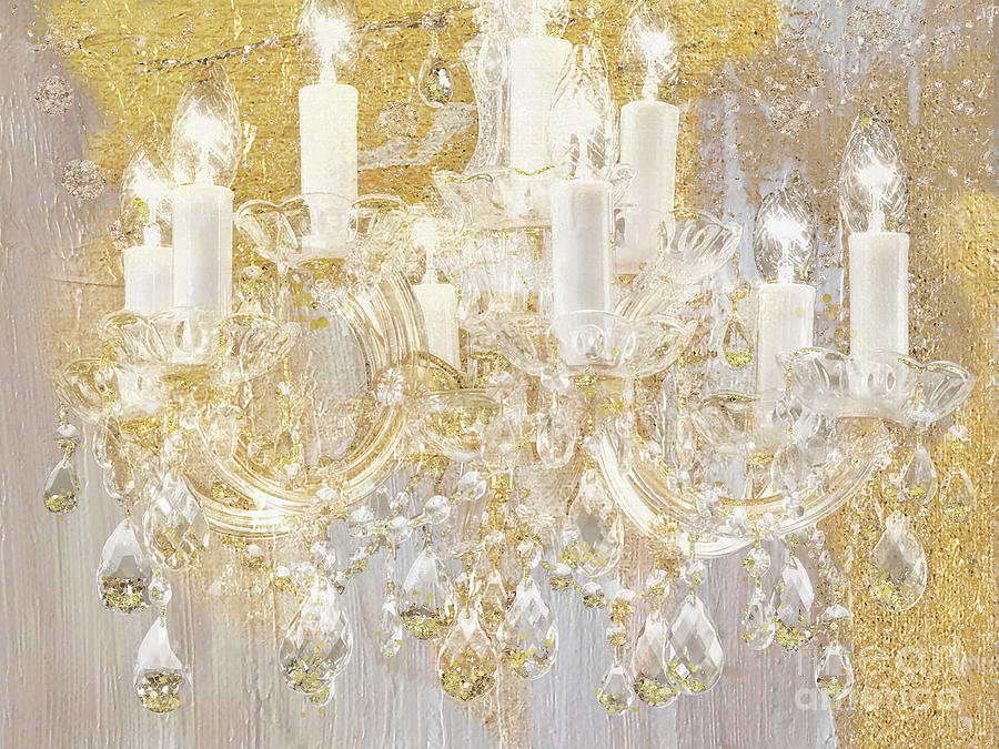 Gold and crystal chandelier cottage style art painting by tina lavoie cottage painting gold and crystal chandelier cottage style art by tina lavoie aloadofball Image collections