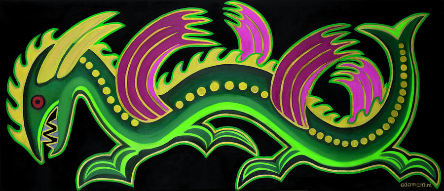 Feng Shui Painting - Gold and green big dragon  by Adamantini Feng shui