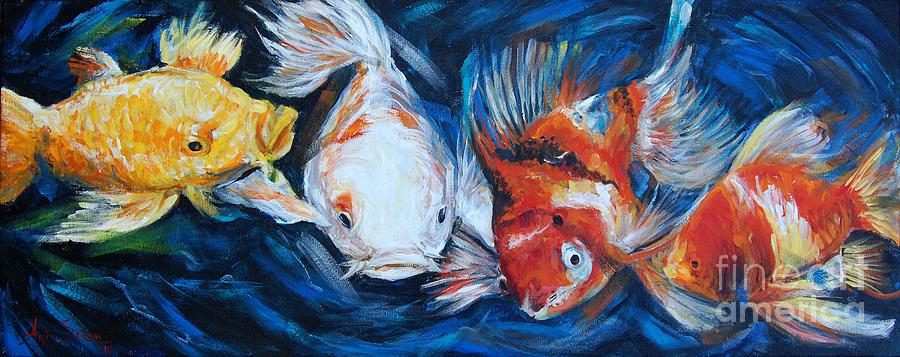Fish Painting - Gold And Koi Fish 1 by Anju Saran