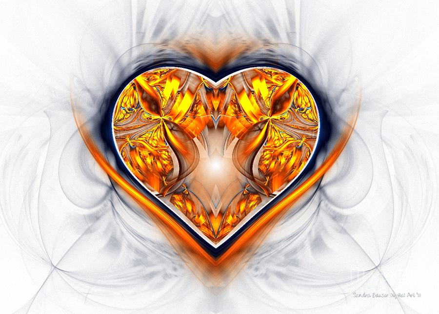 Digital Digital Art - Gold And Sapphire Heart  by Sandra Bauser Digital Art