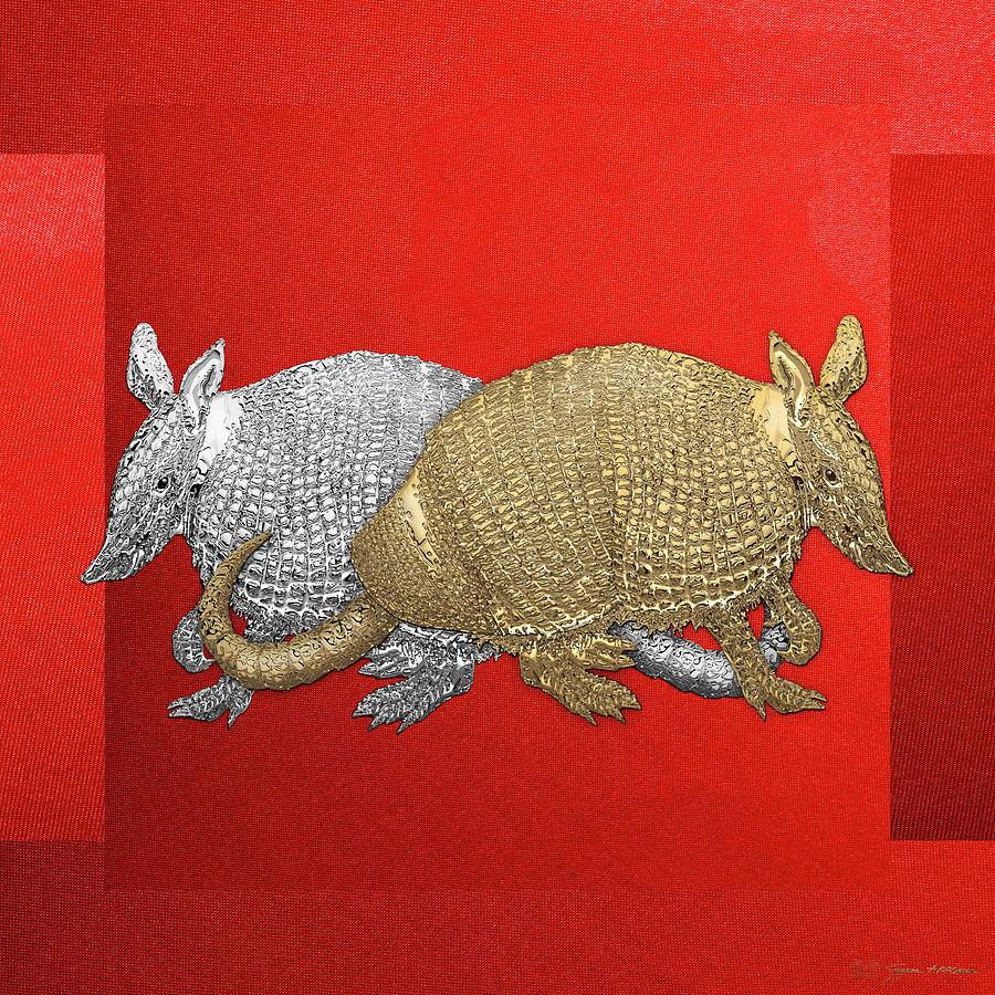 Animal Digital Art - Gold And Silver Armadillo On Red Canvas by Serge Averbukh