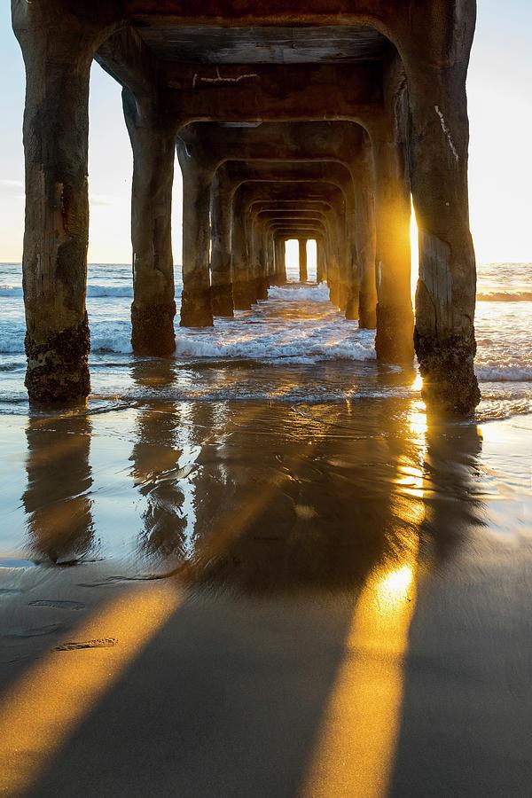 Manhattan Beach Pier Photograph - Gold Beams - Manhattan by Sean Davey