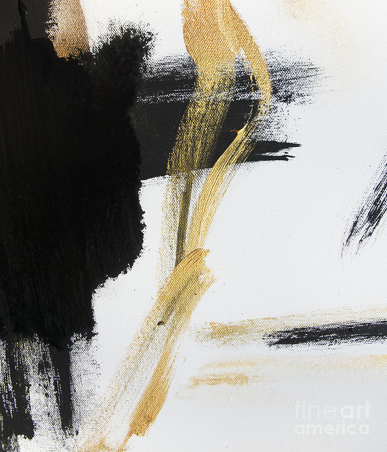 Gold black and white modern abstract painting by wall art for Modern black and white wall art