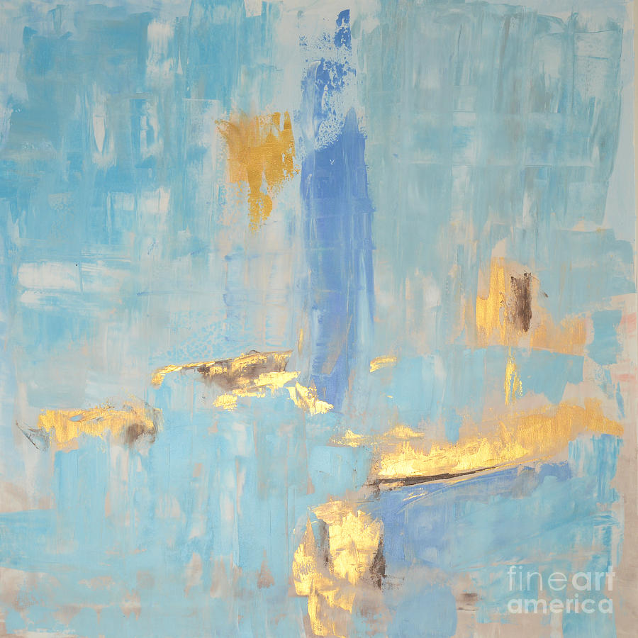 Gold blue light abstract painting by edit voros