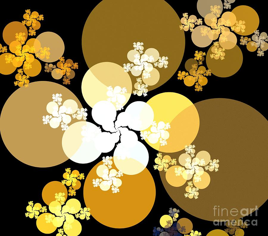 Apophysis Digital Art - Gold Brown Spheres by Kim Sy Ok