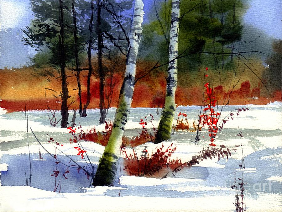 Village Painting - Gold bushes watercolor by Suzann Sines