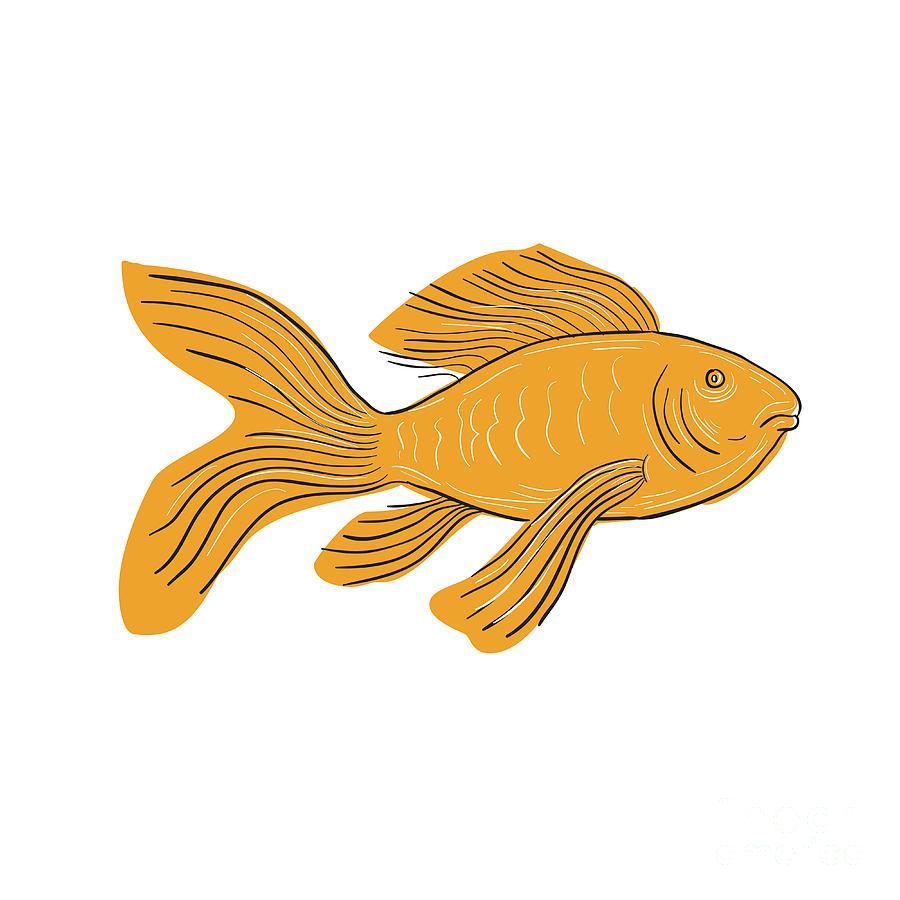 Gold Butterfly Koi Swimming Drawing Digital Art by Aloysius Patrimonio