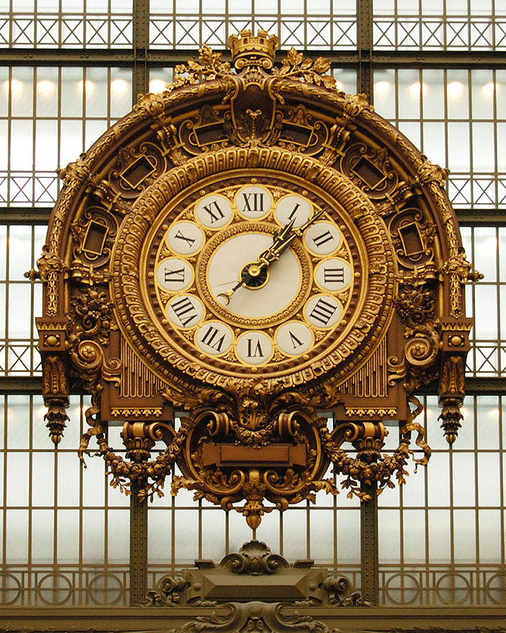 Color Photograph Photograph - Gold Clock Paris France by Dan Albright
