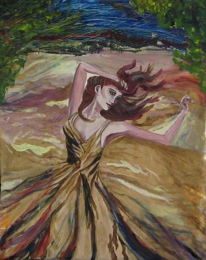 Women Painting - Gold Dress In The Wind by Penfield Hondros