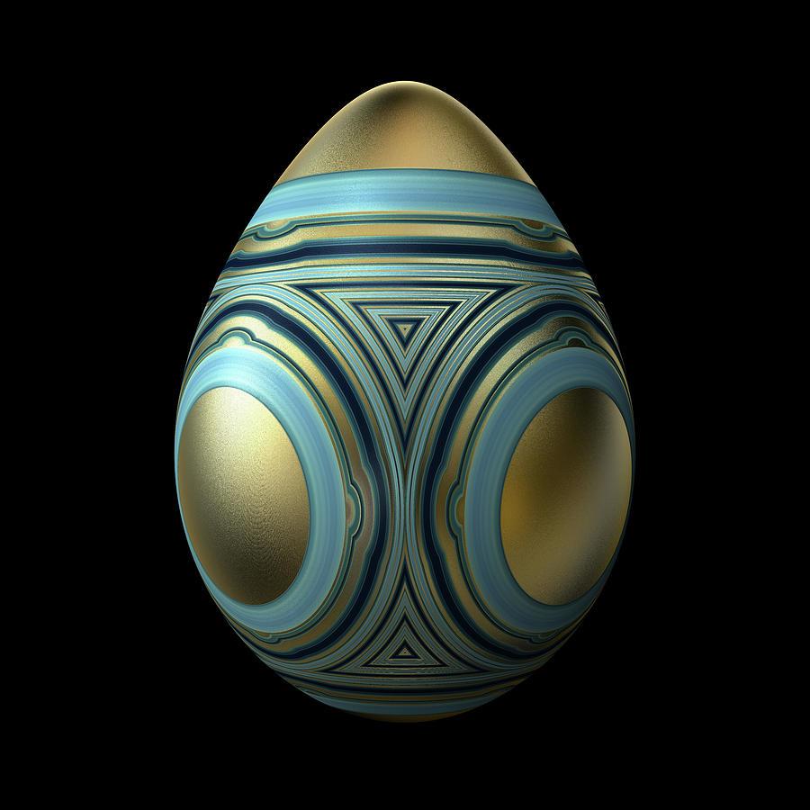 Gold Egg With Blue Enamel Decoration Digital Art