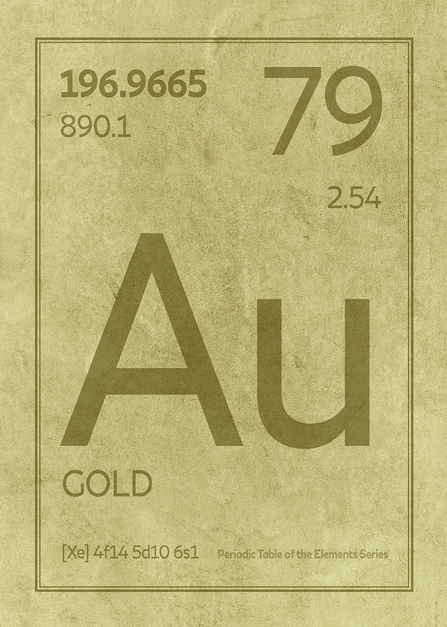Gold Element Symbol Periodic Table Series 079 Mixed Media By Design