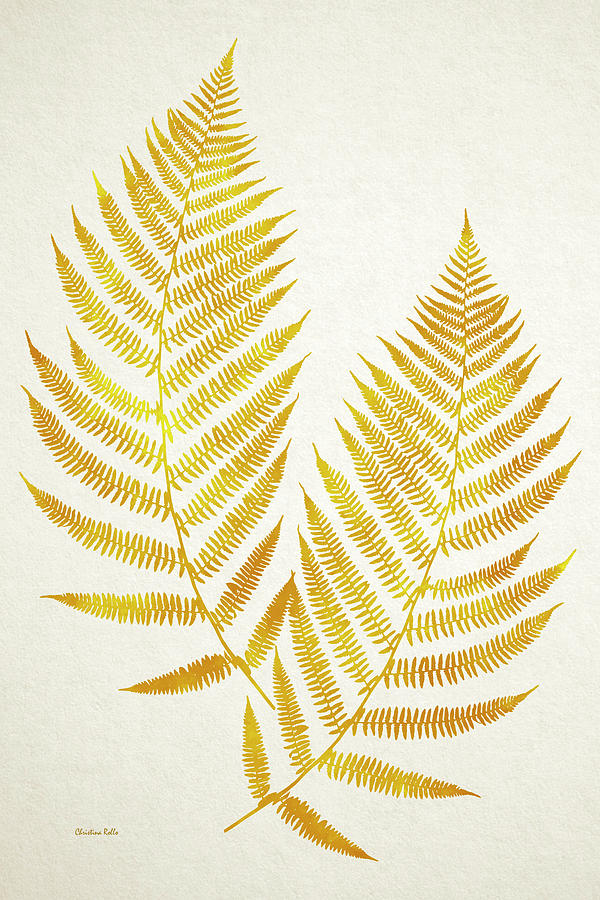 Gold Fern Leaf Art Mixed Media by Christina Rollo