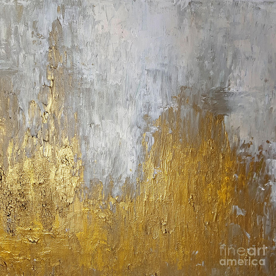 Metallic Painting - Gold In The Mountain by KR Moehr