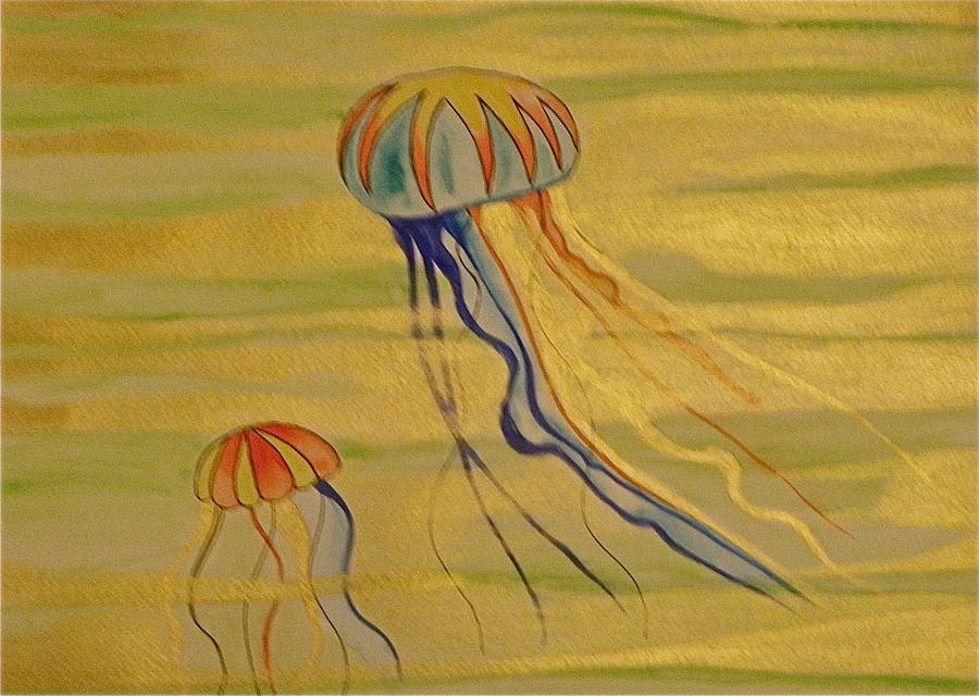 Jellyfish Painting - Gold Jellies by Erika Swartzkopf
