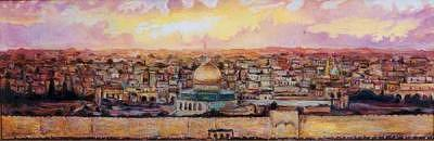 Gold Jerusalem Painting by Marat Dusembaev