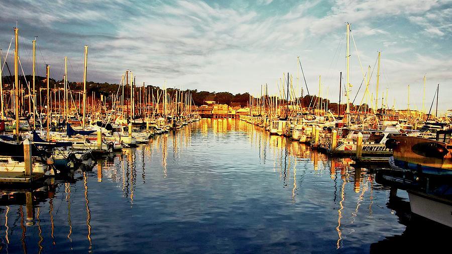 Sunrise Photograph - Gold Light, Monterey Marina by Zayne Diamond Photographic