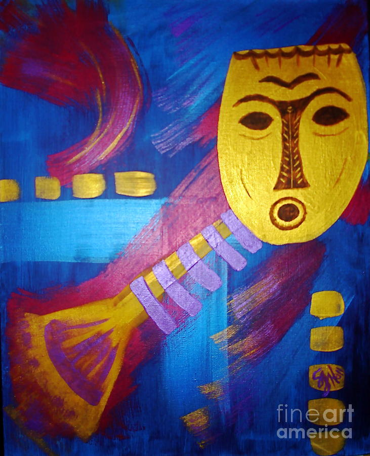Mask Painting - Gold Mask on Blue by Sheila J Hall