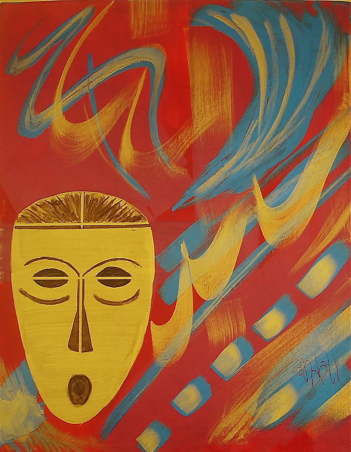 Mask Painting - Gold Mask on Red by Sheila J Hall