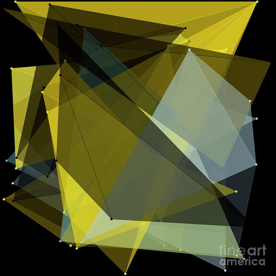 Abstract Digital Art - Gold Mine Polygon Pattern by Frank Ramspott