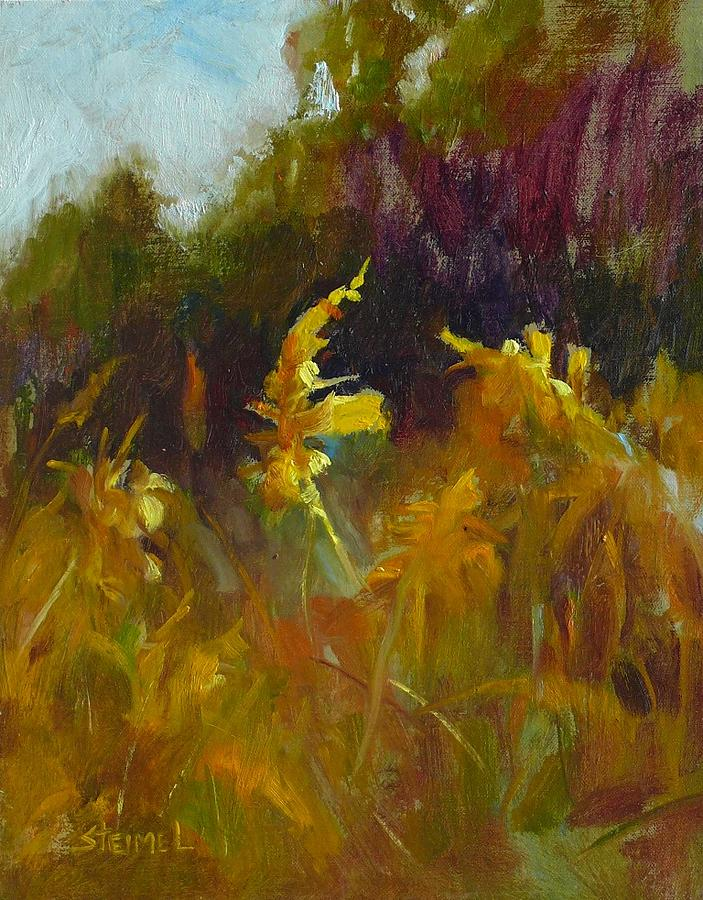 Landscape Painting - Gold On The Greenway by Phyllis Steimel