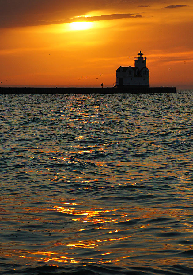 Lighthouse Photograph - Gold On The Water by Bill Pevlor