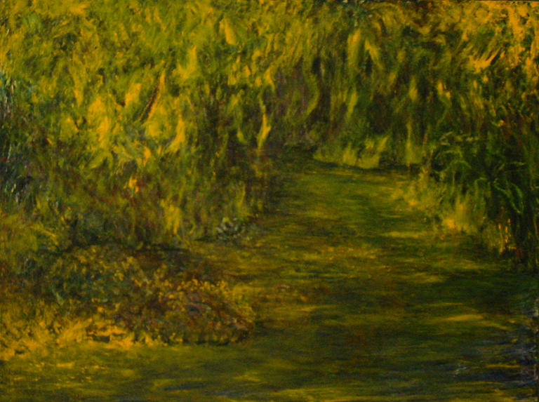 Landscape Painting - Gold by Patricia Obletz