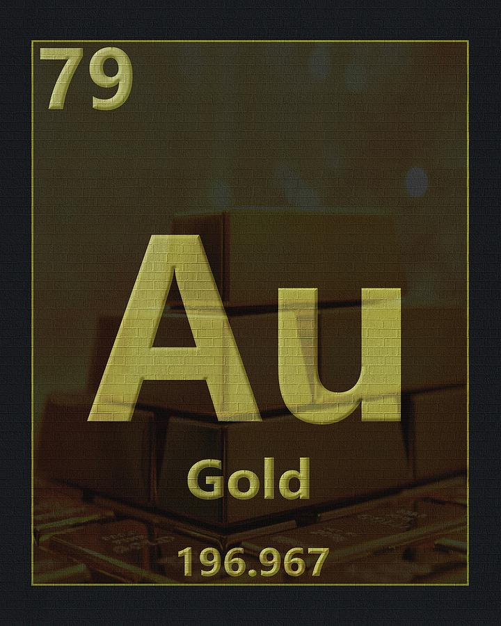 Gold Digital Art - Gold Periodic Table by Dan Sproul