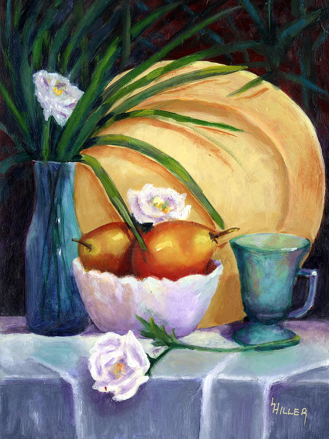 Still Life Painting - Gold Plate by Linda Hiller