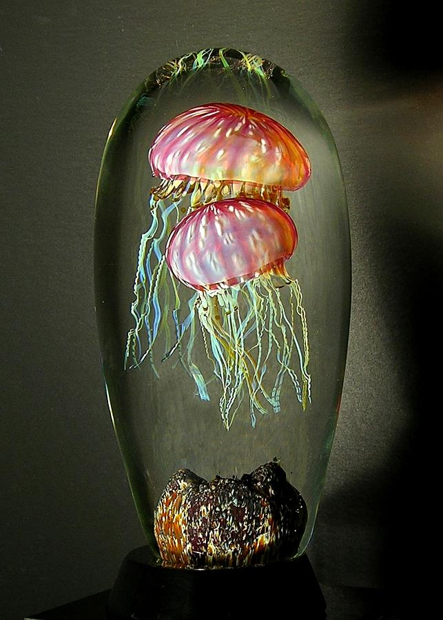 Gold Ruby Double Jellyfish Glass Art by R Satava
