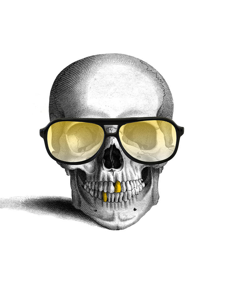 Gold Teeth Digital Art - Skull With Gold Teeth And Sunglasses by Madame Memento