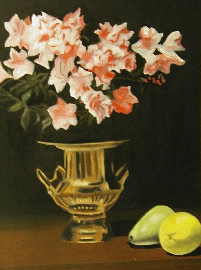 Still Life Painting - Gold Vase With Fruit by Angelo Thomas