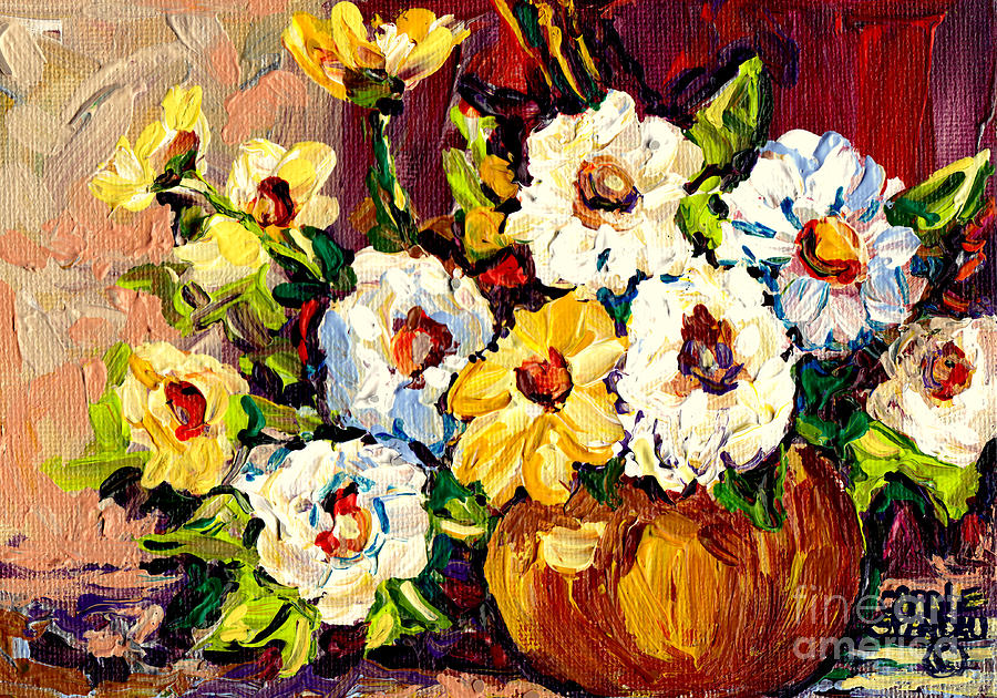 Gold vase with white and yellow flowers colorful original for Original oil paintings for sale by artist